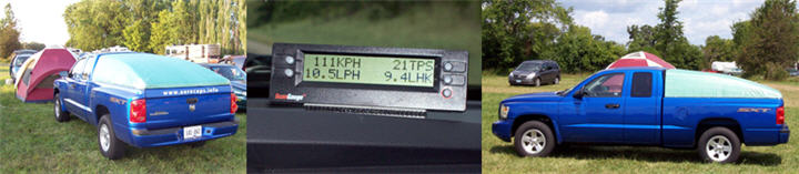 Two images of the Aerocap at Oshkosh, surrounding a shot of the ScanGauge at work on the way home